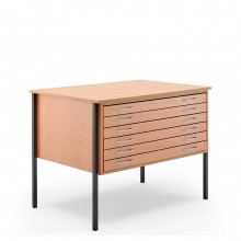 Vistaplan : Wooden Economy Planchest : 6 Drawer A1 : Beech : UK Only