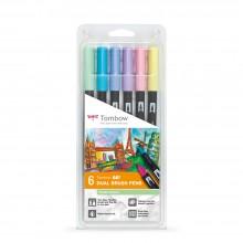 Tombow : Art Dual Brush Pens : Pastel Colors : Set of 6