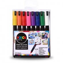 Uni : Posca Marker : PC-1MR : Ultra-Fine Pin Tip : 0.7mm : Assorted Colors Set of 16