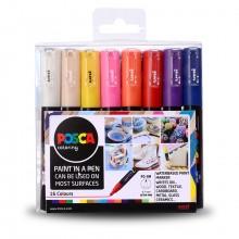 Uni : Posca Marker : PC-1M : Extra-Fine Bullet Tip : 0.7mm : Assorted Colors Set of 16