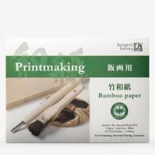 Awagami Washi : Japanese Paper : Bamboo Printmaking Pad : 170gsm : 24.2x33.2cm : 15 Sheets