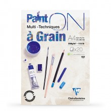 Clairefontaine : PaintOn Grained : Gummed Pad : 250gsm : 20 Sheets : A4