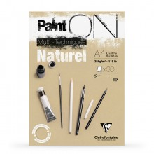 Clairefontaine : PaintOn Natural : Gummed Pad : 250gsm : 30 Sheets : A4