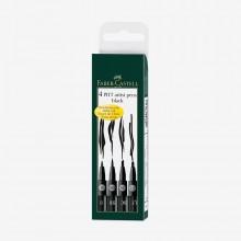 Faber Castell : Pitt Artist Brush Pen : Set of 4 : Black (B,SB,SC,1.5)
