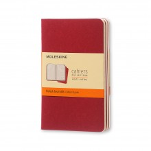 Moleskine : Ruled Cahier Journal : 70gsm : 9x14cm : 32 Sheets : Cranberry Red : Pack of 3