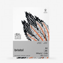 Winsor & Newton : Bristol Board Pad : 250gsm : 20 Sheets : Extra Smooth : Bright White : A4