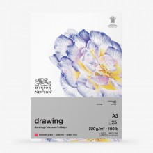 Winsor & Newton : Heavy Weight Drawing : Cartridge Gummed Pad : 220gsm : Smooth : 25 Sheets : A3