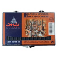 Conte A Paris : Carres : Sketching Crayon : Box of 12 : Black HB