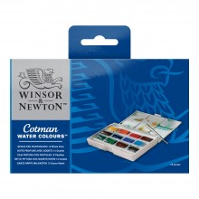 Winsor & Newton : Cotman : Watercolor : Painting Box Set : 12 Full Pans