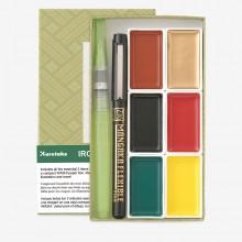 Kuretake : Irodori Kobako Green : Set of 6 Gansai Tambi Watercolour Pans and 2 Pens