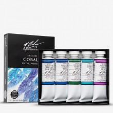 M. Graham : Artists' Watercolor Paint : 15ml : Cobalt Mix Set of 5