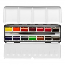 Sennelier : Watercolor Paint : Classic Metal Tin Set Of 14 Full Pans