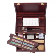 Talens : Rembrandt Watercolor Paint : Master Set : 42 Half Pan Wooden Box Set