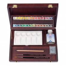 Talens : Rembrandt Watercolor Paint : Professional Set : 28 Half Pan Wooden Box Set