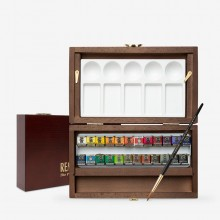 Talens : Rembrandt Watercolor Paint : 22 Half Pan Wooden Box Set