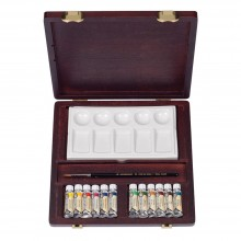 Talens : Rembrandt Watercolor Paint : 12 x 5ml Tube Wooden Box Set