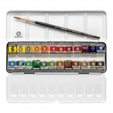 Royal Talens : Rembrandt Watercolor Paint : 24 Half Pan Metal Box Set