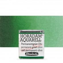 Schmincke : Horadam Watercolor Paint : Half Pan : Permanent Green Olive