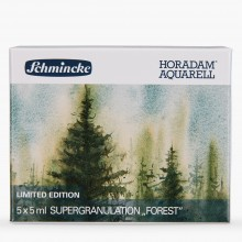 Schmincke : Horadam Watercolour Paint : Super Granulation Set : 5ml : 5 Forest Colours