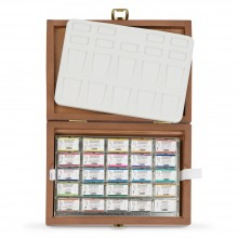 Schmincke : Horadam Watercolor : Wood Box Set of 24 Full Pans