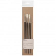 Jackson's : Akoya White Synthetic Bristle Hair Brush : Set of 4 : 2 & 6 Round, 6 Bright, 4 Filbert