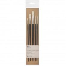 Jackson's : Shiro Professional Hog Bristle Hair Brush : Set of 5 : 4 Round, 1 & 6 Bright, 4 Filbert