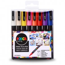Uni : Posca Marker : PC-3M : Fine Bullet Tip : 0.9 - 1.3mm : Assorted Colours Set of 16