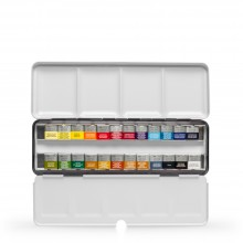 Winsor & Newton : Professional Watercolor : Lightweight Metal Sketchers Box Set : 24 Half Pans