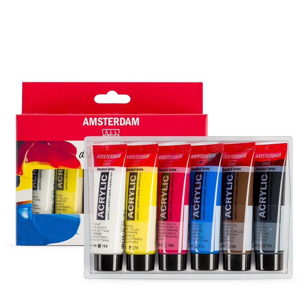 Royal Talens : Amsterdam Standard : Acrylic Paint : 20ml : Primary Set of 6