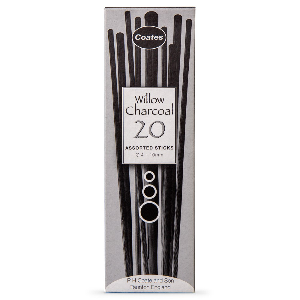 Coates : Willow Charcoal : Pack of 20 Sticks : 4-10mm Diameter
