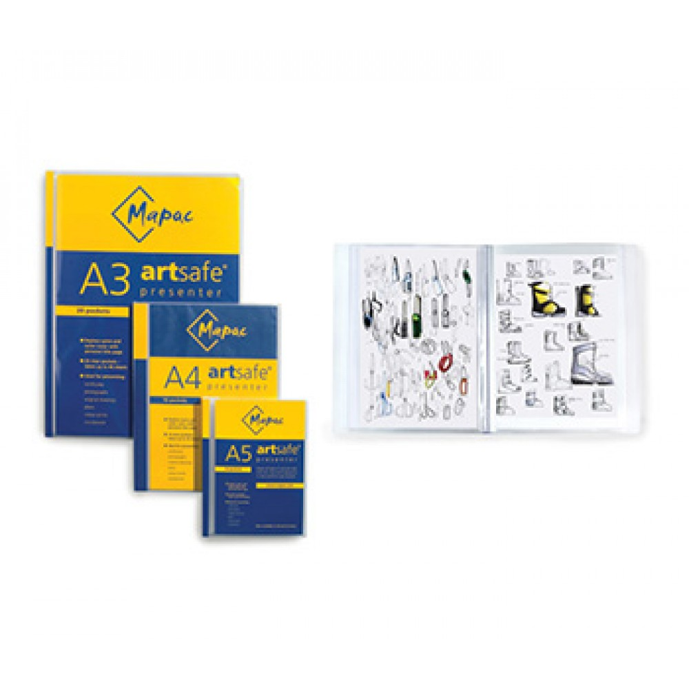 Mapac : A3 Artsafe Presenter : 20 Clear Sleeve Presentation Folders that hold up to 40 pages