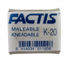 Factis : Kneadable Eraser : Putty Rubber : 37x29x10mm : Grey