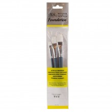 Winsor & Newton : Foundation Acrylic Brush Set : SH Flat 4, 10 & 14