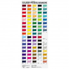 Holbein : Artists' : Gouache Paint : Hand Painted Colour Chart