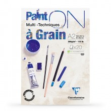 Clairefontaine : PaintOn Grained : Gummed Pad : 250gsm : 20 Sheets : A2