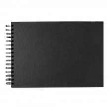 Seawhite : A4 Black Card 220gsm : 40 Sheets : spiral pad wide spine