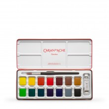 Caran d'Ache : Studio Gouache : Set of 14 Pans & 10ml White