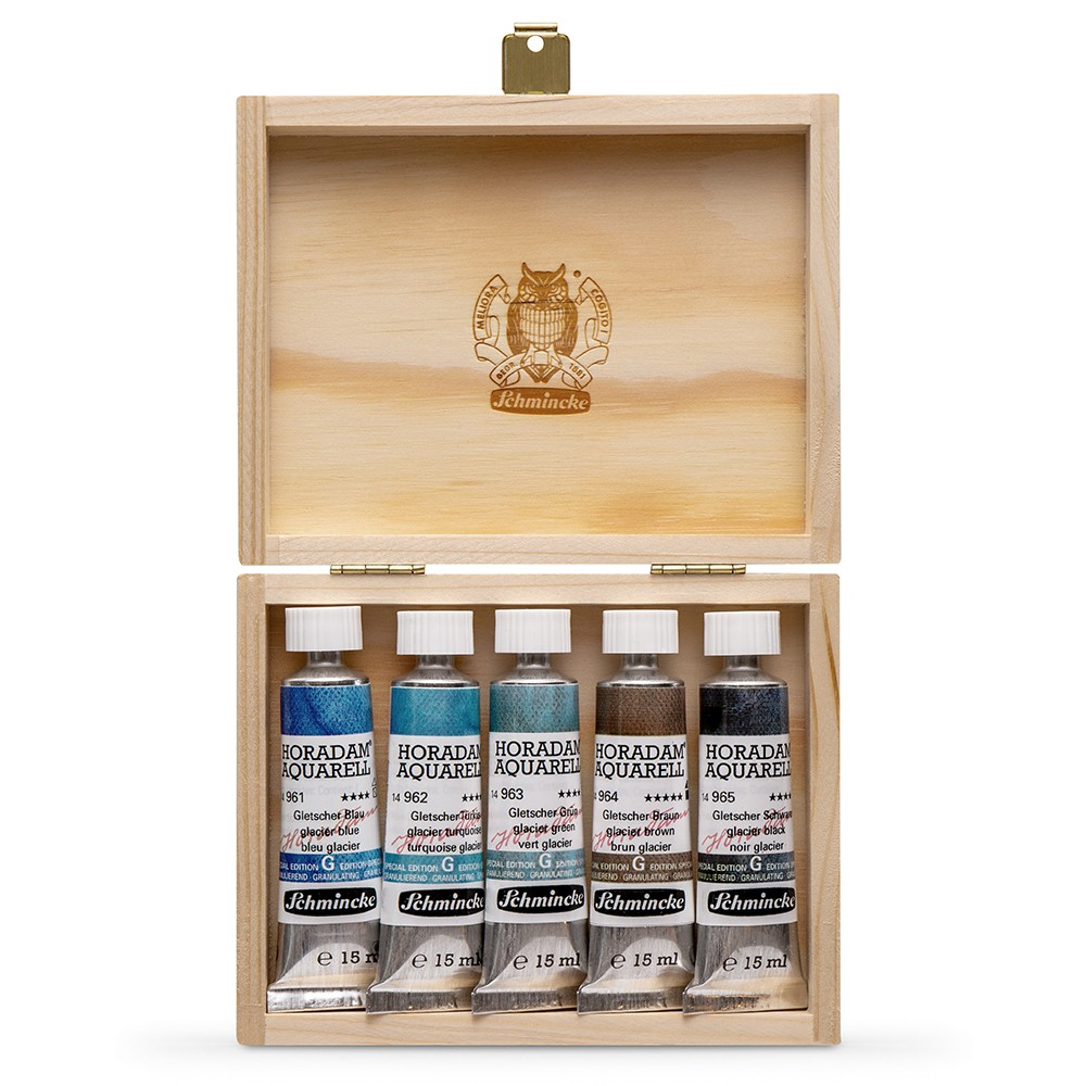 Schmincke : Horadam Watercolour Paint : Super Granulation Set : 15ml : 5 Glacier Colours