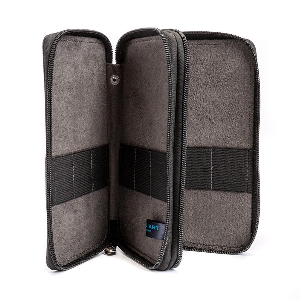 Global : Canvas Style Black Folding Colour Pencil Case : Holds 48