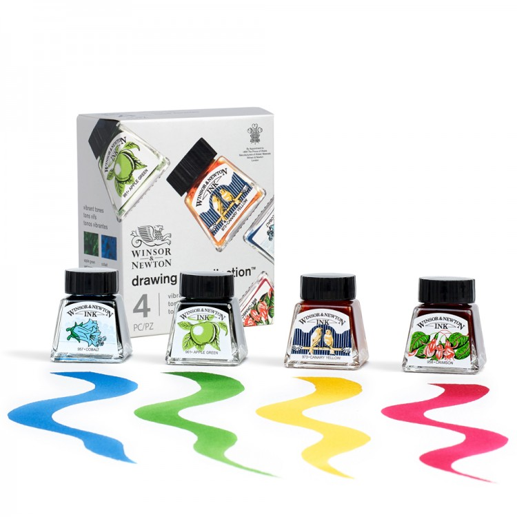 Winsor & Newton : Drawing Ink : 14ml : Vibrant Tones Collection : Set of 4
