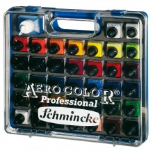 Schmincke : Aero Color Finest Acrylic Ink : Plastic Case Set : 37x28ml & Aeroclean