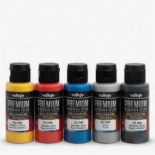 Vallejo : Premium Airbrush Paint : Set of 5 : Metallic Colours