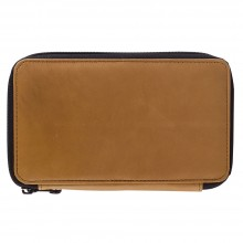 Global : Leather Antique Brown Folding Colour Pencil Case Holds 48
