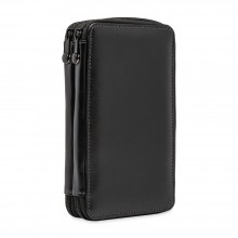 Global : Leather Black Folding Colour Pencil Case Holds 48