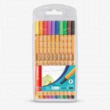 Swan Stabilo : Point 88 : Watersoluble Fineliner Pen : 0.4mm : Wallet Set of 10