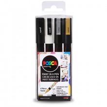 Uni : Posca Marker : PC-3M : Fine Bullet Tip : 0.9 - 1.3mm : Mono Tones Set of 4