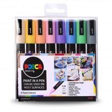 Uni : Posca Marker : PC-5M : Medium Bullet Tip : 1.8 - 2.5mm : Pastel Set of 8