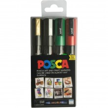Uni : Posca Marker : PC-5M : Medium Bullet Tip : 1.8 - 2.5mm : Set of 4 Assorted Colours