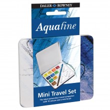 Daler Rowney : Aquafine Mini Travel Watercolour Paint Set : Half Pan : Set Of 10