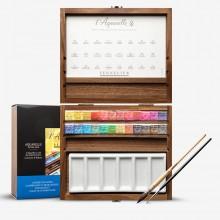 Sennelier : Watercolour Paint : Half Pan : Wooden Box Set of 24 Paints Plus Acessories